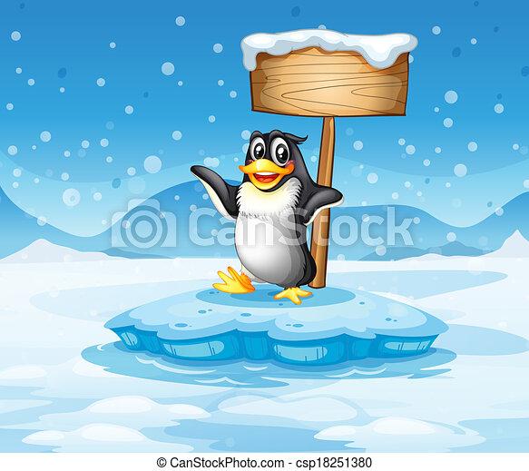 Legno cartello iceberg vuoto pinguino iceberg legno for Clipart iceberg