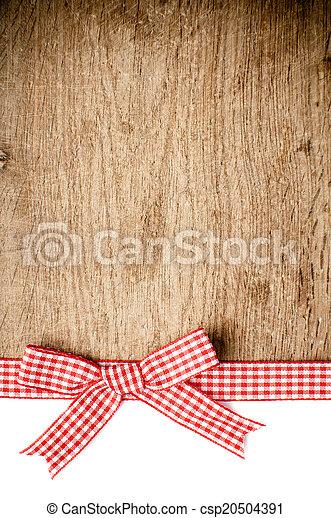 legno, checkered, fondo, nastro, rosso - csp20504391