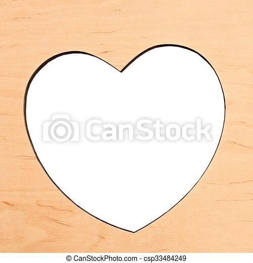 legno, cuore, cornice - csp33484249