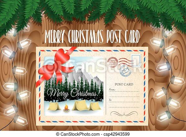 Disegni Paesaggi Di Natale.Montagne Rami Campeggio Ghirlanda Paesaggio Lights Albero Legno Disegno Allegro Tavola Palo Scheda Natale Canstock