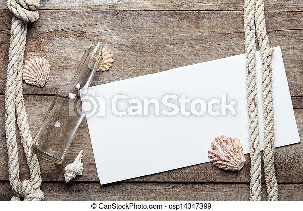 legno, foglio, fondo, alterato, sgusciare, carta, corda, bottiglia, vuoto - csp14347399