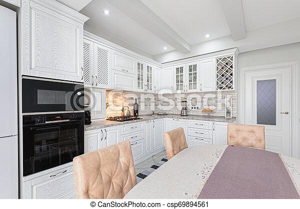 Legno Interno Bianco Moderno Cucina Legno Moderno Lusso Interno Casa Bianco Cucina Canstock