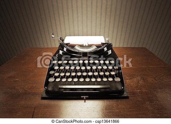 legno, macchina scrivere, vecchio, scrivania - csp13641866