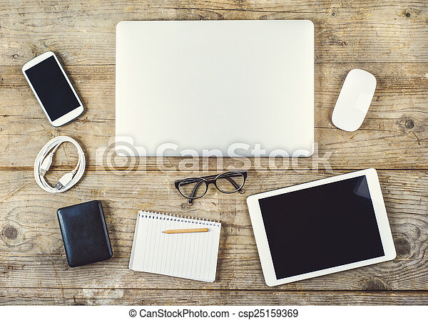 legno, miscelare, tavola., ufficio, desktop - csp25159369