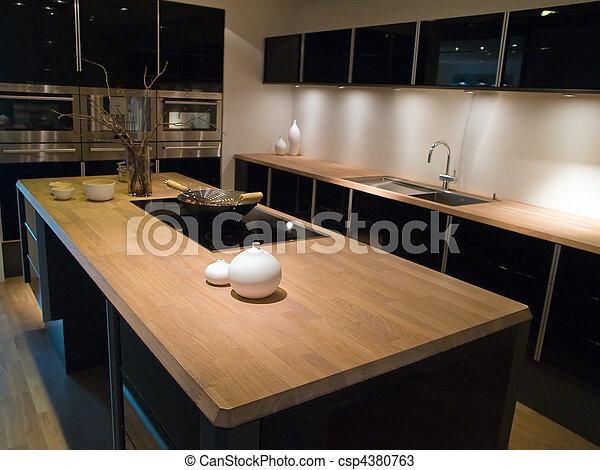 Legno, moderno, disegno, trendy, nero, cucina. Elementi, legno ...