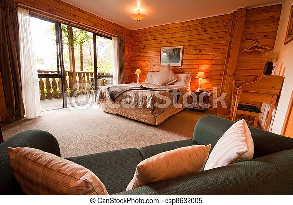 Legno, montagna, interno, camera letto, casetta. Montagna, isola ...