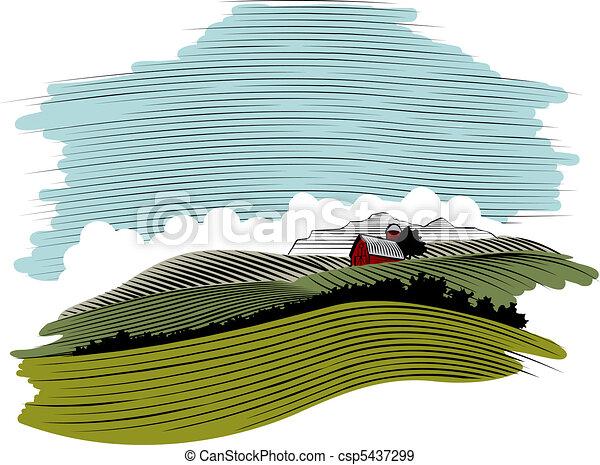 legno, paesaggio, fattoria, scena, taglio - csp5437299