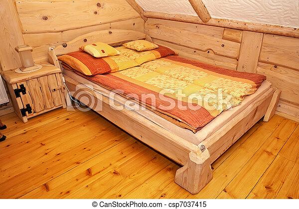 Letto Rustico Legno : Legno paese letto rustico bedroom cottage