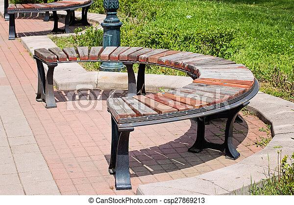 Panchina Rotonda : Legno parco rotondo panca. legno moderno panchina disegno