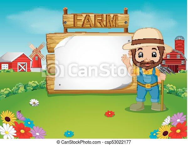 legno, segno, vuoto, contadino - csp53022177