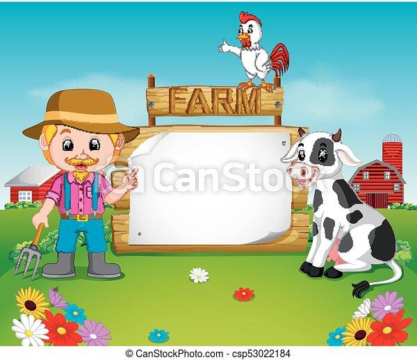 legno, segno, vuoto, contadino - csp53022184