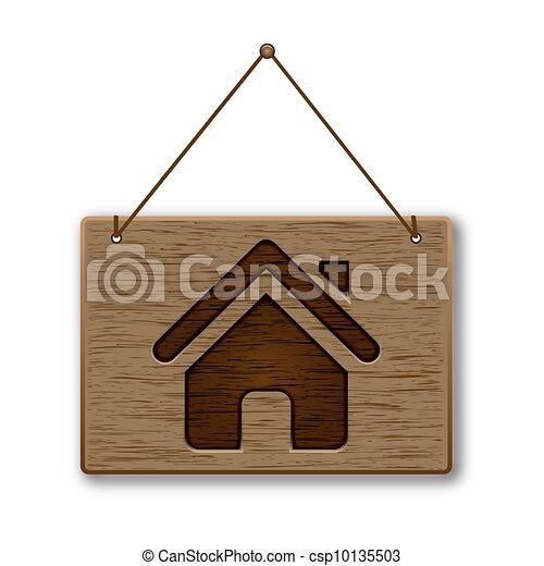 legno, signpost, icona, casa - csp10135503