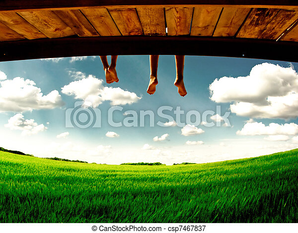 legs hanging on nature - csp7467837