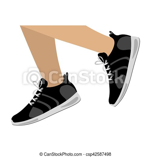 legs with black Fitness sneakers design icon - csp42587498