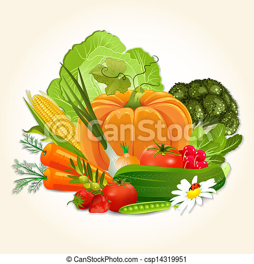 legumes, desenho, suculento, seu - csp14319951