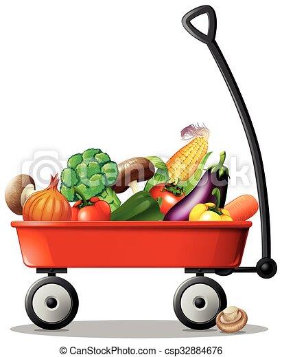 legumes frescos, vagão vermelho - csp32884676