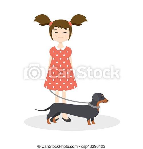 lei, illustrazione, dachshund, vettore, ragazza sorridente, felice - csp43390423