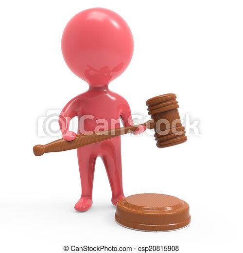 leilão, gavel, homem, vermelho, 3d - csp20815908