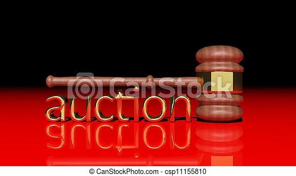 leilão, madeira, conceito, gavel - csp11155810