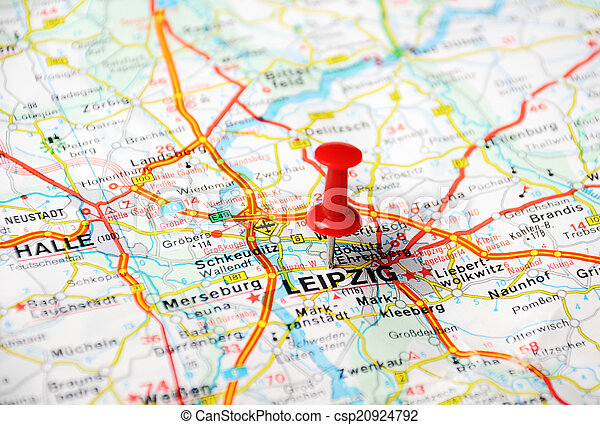 Leipzig germany map Close up of leipziggermany map with stock