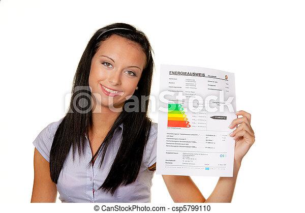 leistung, energie, frau, bescheinigung - csp5799110