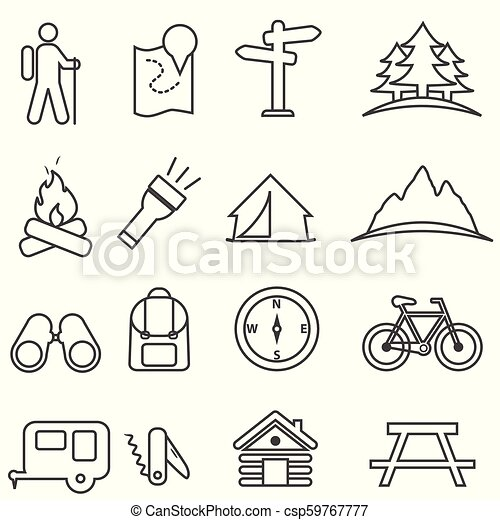 Leisure, camping, recreation and outdoor activities icon set - csp59767777
