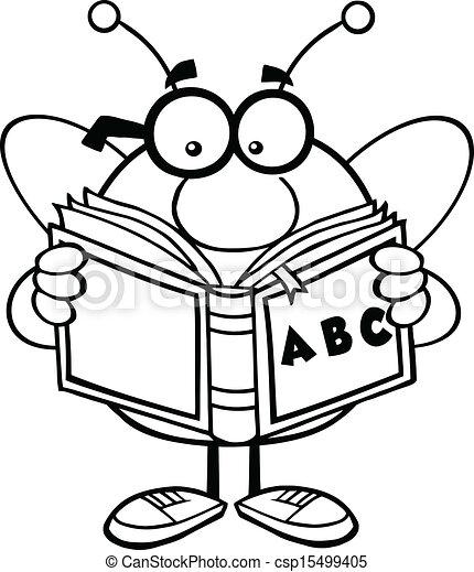 leitura, esboçado, abc, livro, abelha - csp15499405