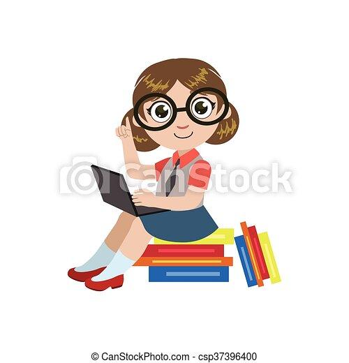 Leitura Menina Oculos Coloridos Simples Isolado Desenho