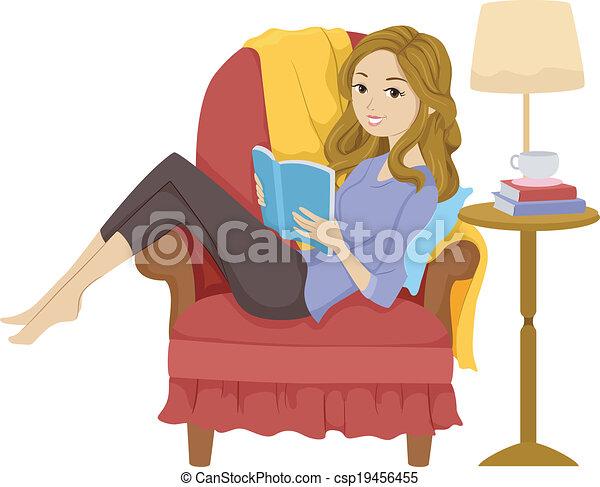 leitura menina, livro - csp19456455