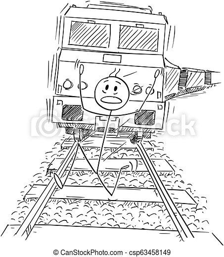 Caricatura de hombre asustado corriendo en las vías lejos del tren cabalgando detrás de él - csp63458149