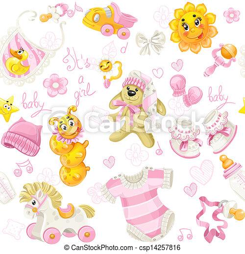 leksak, mönster, seamless, stoppa, den er, beklädnad, flicka - csp14257816