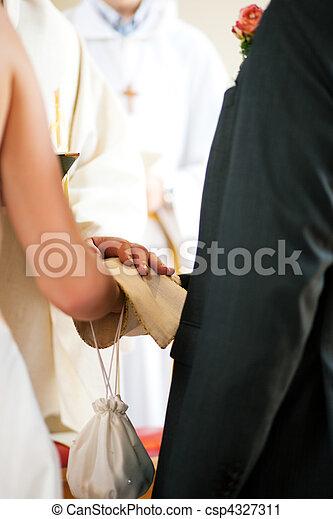 lelkész, párosít, áldás, felfogó, esküvő - csp4327311
