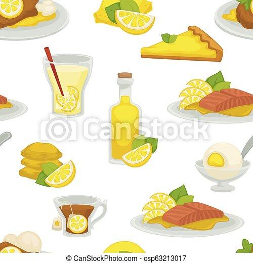 Lemon and lemonade, oil in glass bottle seamless pattern isolated on white background vector. - csp63213017