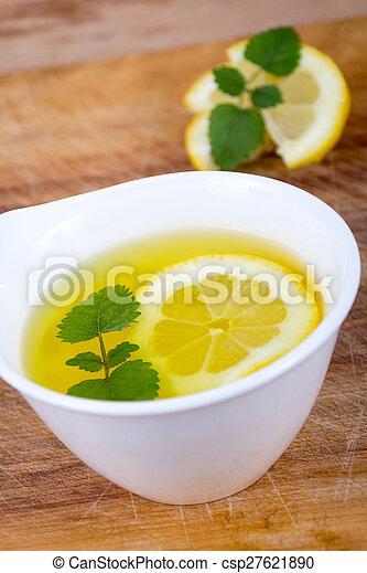 Lemon balm tea closeup - csp27621890