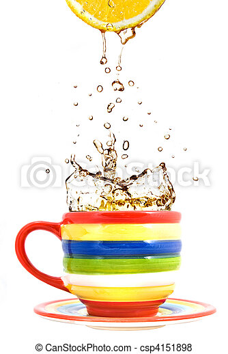 lemon, color cup and splash of tea isolated on white - csp4151898