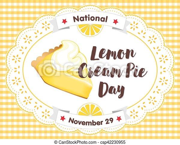 Lemon Cream Pie Day, November 29, Lace, Gingham Place Mat - csp42230955