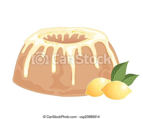 An Illustration Of A Round Lemon Drizzle Cake With Frosting And
