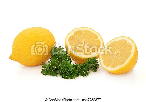 Lemon Fruit and Parsley Herb - csp7782377