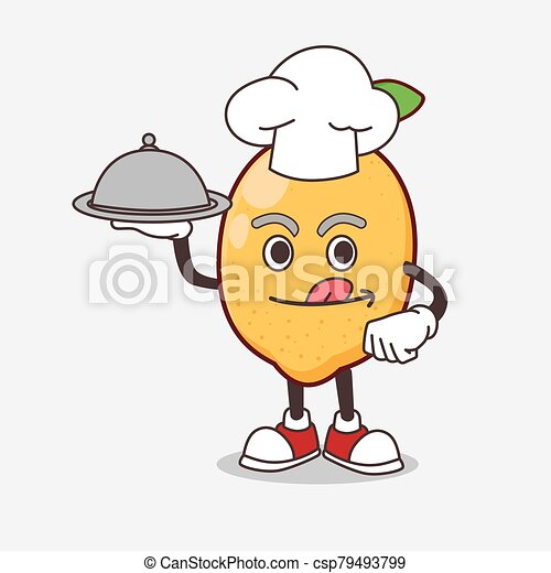 Lemon Fruit cartoon mascot character as a Chef with food on tray ready to serve - csp79493799