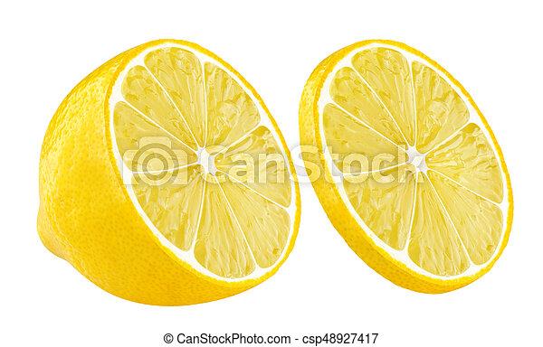 lemon half and slice on white background