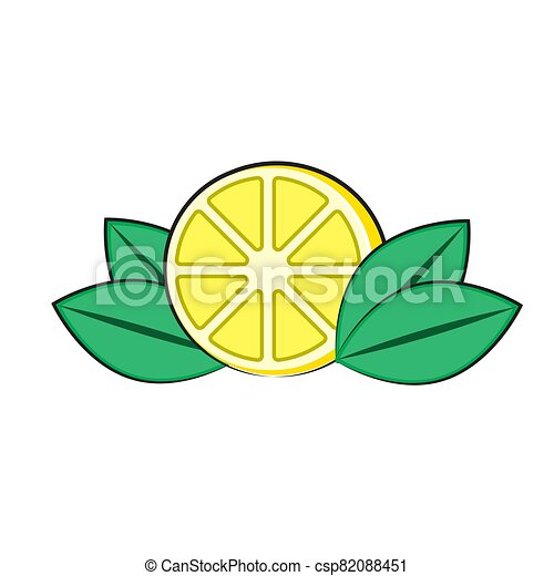 lemon logo with leaves on a white isolated background. Vector image - csp82088451