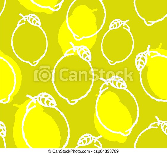 lemon pattern seamless. lime background. Hand drawing fruit ornament - csp84333709