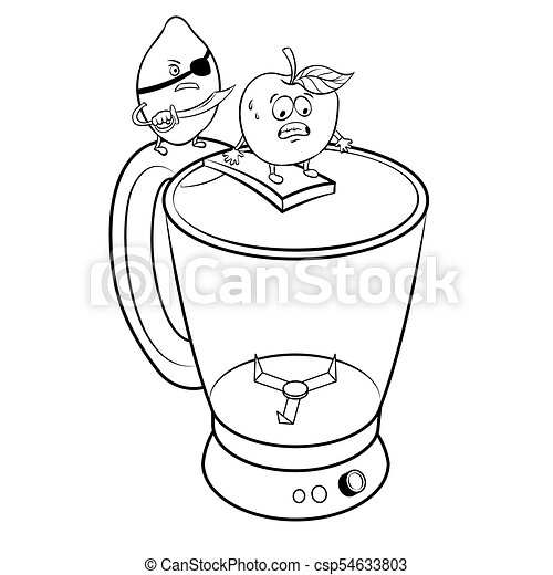 Lemon pirate and apple coloring book vector. Lemon pirate and apple ...