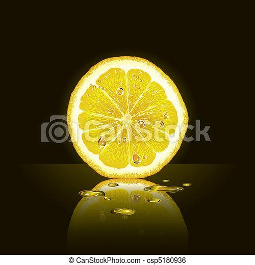 Lemon slice on black background - csp5180936