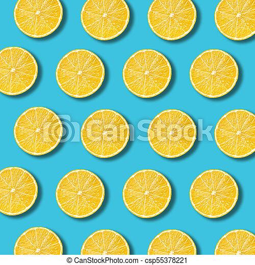 Lemon Slices Pattern On Vibrant Turquoise Color Background Minimal