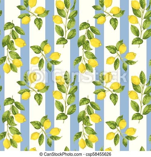 Lemon Striped Seamless Pattern Lemon Striped Seamless Pattern In