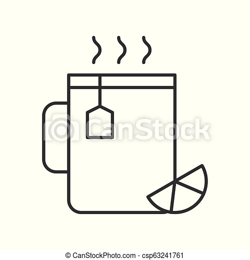 Lemon tea cup, food and beverage outline icon - csp63241761