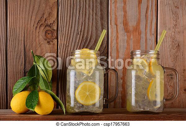 Lemonade Glasses on Shelf with Lemons - csp17957663