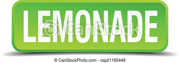 Lemonade green 3d realistic square isolated button - csp21160448
