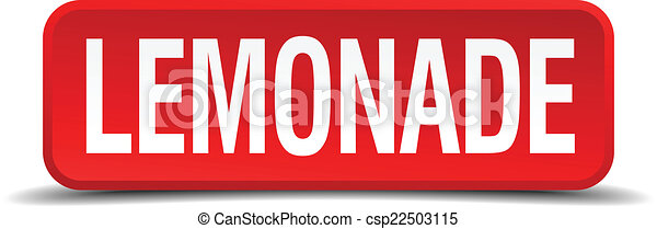Lemonade red 3d square button isolated on white - csp22503115